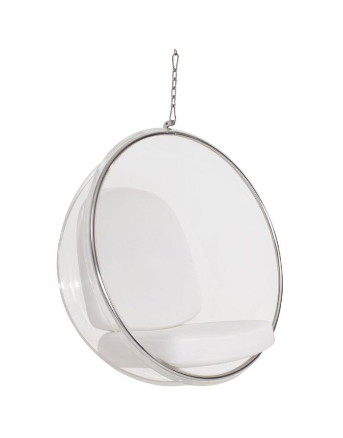 Eero Aarnio Hanging Bubble Chair With White Cushions Designer Furniture Ltd