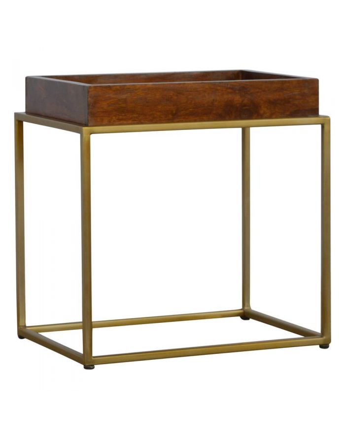 Lux Furniture Chestnut Butler Tray Table With Gold Base Luxurious
