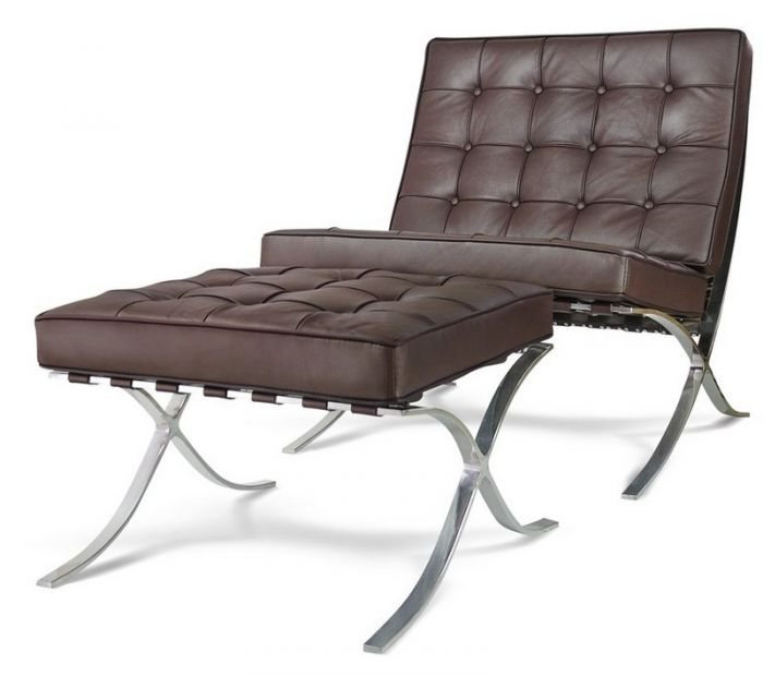Fine Barcelona Brown Leather Chair And Footstool Short Links Chair Design For Home Short Linksinfo