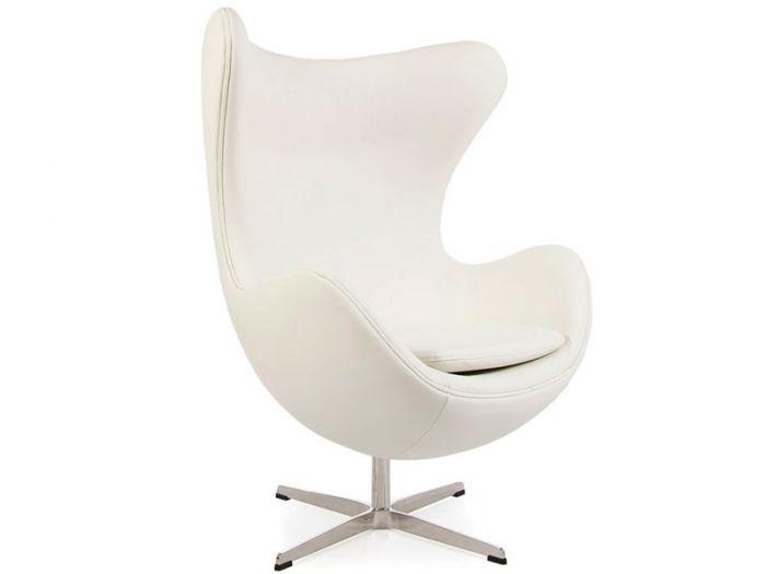 Arne Jacobsen Egg Chair In White Leather Retro Chairs Funky Chairs Designer Furniture Ltd Designer Furniture Ltd