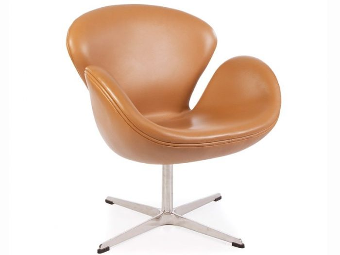 Arne Jacobsen Swan Chair In Tan Leather Designer Furniture Ltd