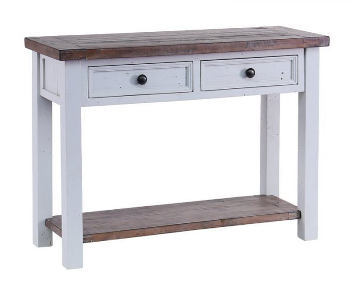 The Hampton Grey Painted Shabby Chic Console Table Has It All