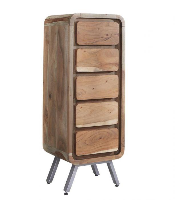 Indian Hub Aspen 5 Drawer Tallboy Chest Sheesham Wood Furniture