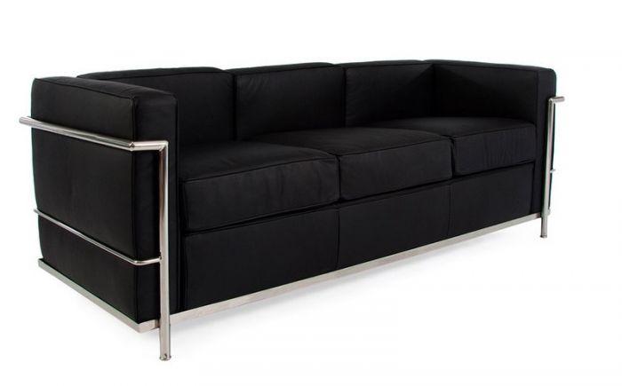 Corbusier 3 Seater Sofa in Black Leather