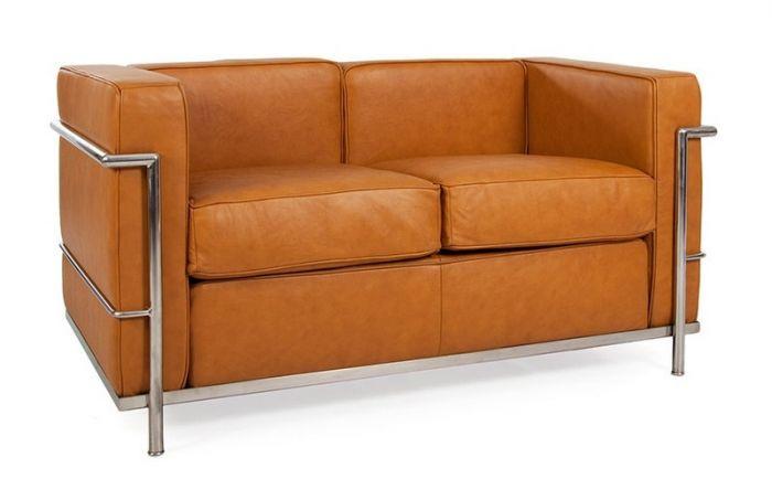 Corbusier 2 Seat Sofa in Black Leather