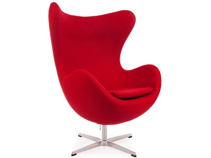 Red Funky Replica Retro Jacobsen Egg Armchair in Cashmere Designer ...