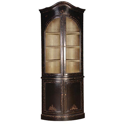Belle Noir Glazed Corner Cupboard