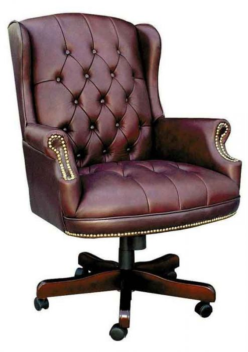 Chairman Traditional Button Tufted Leather Office Chair