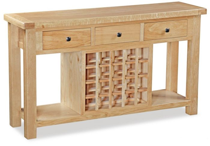 Troy Country Oak 3 Drawer Console With Wine Rack