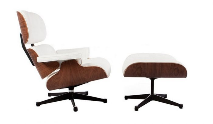 retro eames black leather lounge chair and footstool designer