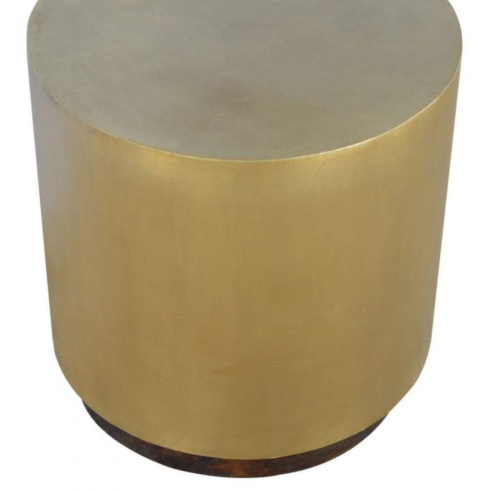 Lux Furniture Sleek Gold End Table With Chunky Wooden Base