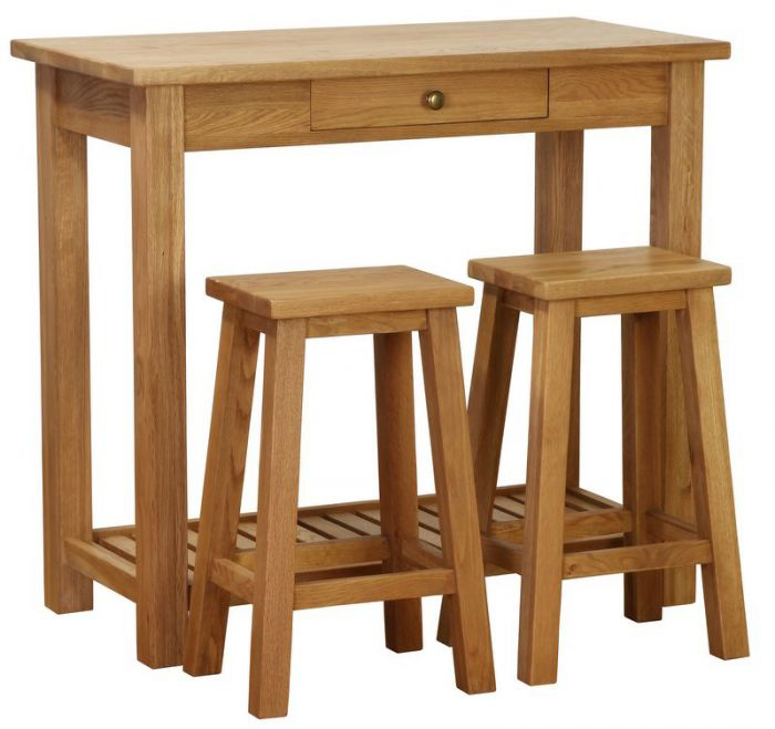 Besp Oak Vancouver Pee Breakfast Bar With Two Stools Nb041