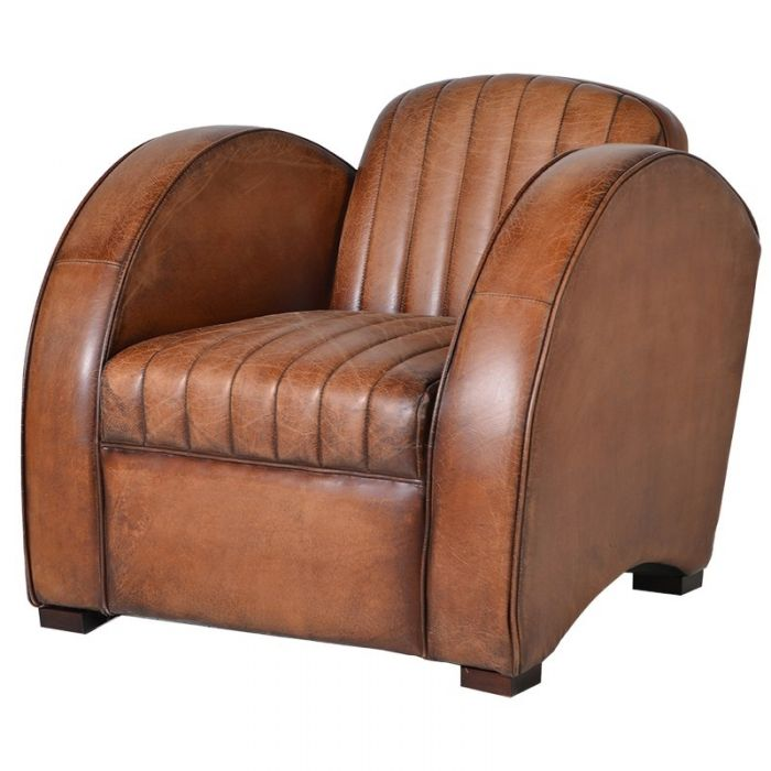 Art Deco Tan Leather Rocket Chair