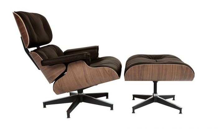 Retro Eames Brown Leather Lounge Chair