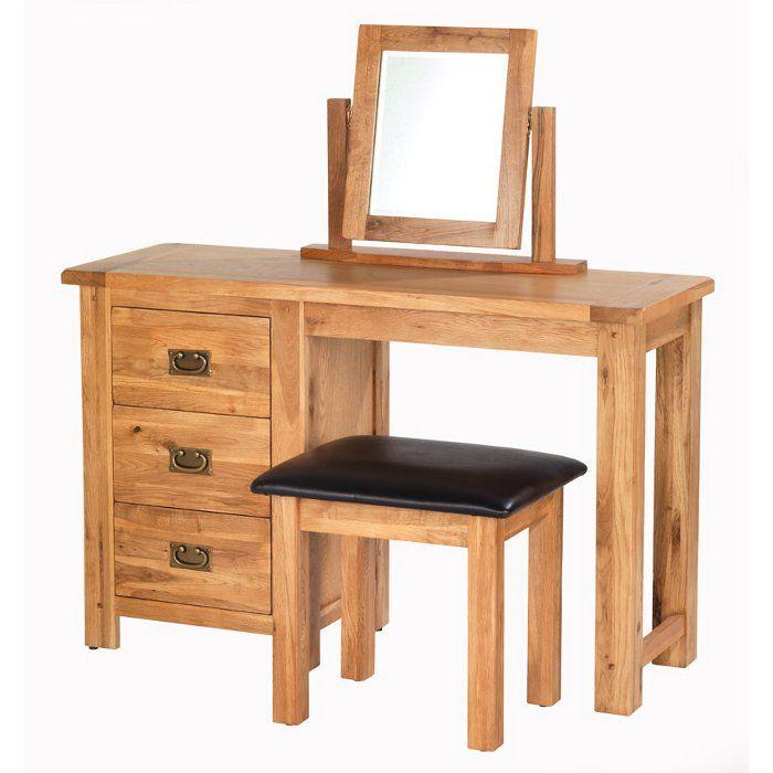 Cherbourg Rustic Solid Oak Dressing, Mirrored Dressing Table Set Oak