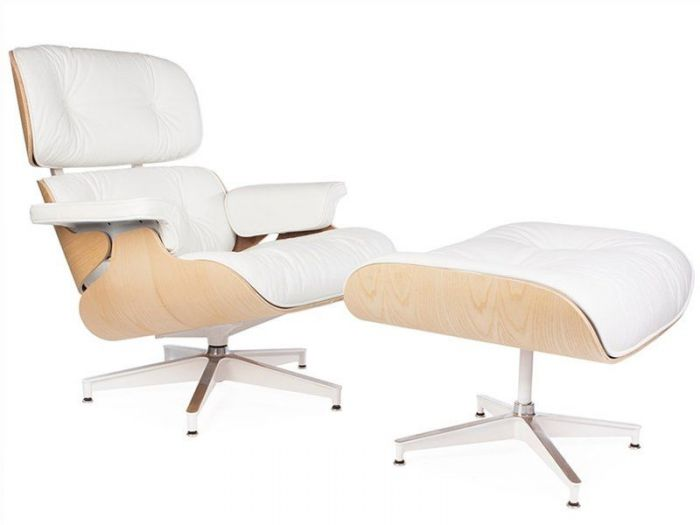 Marvelous Eames Leather Lounge Chair Ottoman Special Edition White With Walnut Evergreenethics Interior Chair Design Evergreenethicsorg